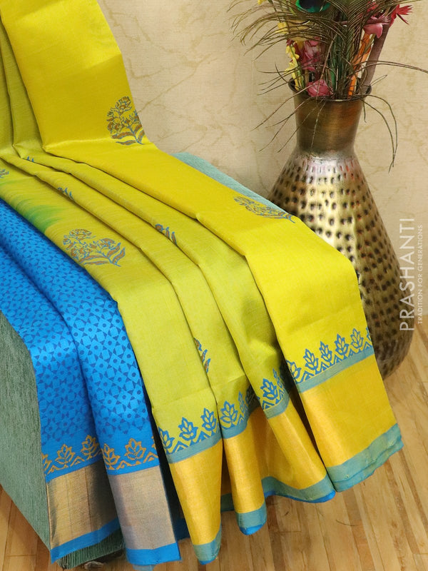 Block printed silk cotton partly saree lime green and cs blue with butta prints and zari border