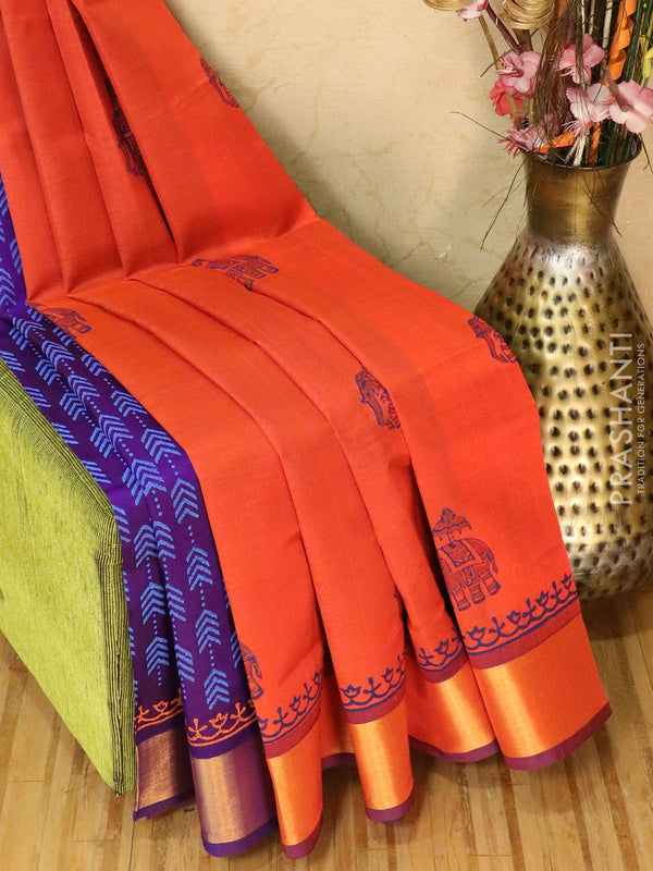 Block printed silk cotton partly saree orange and violet with butta prints and zari border