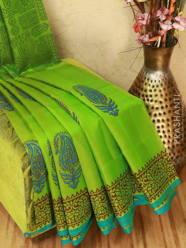 Block printed silk cotton saree green with butta prints and simple border