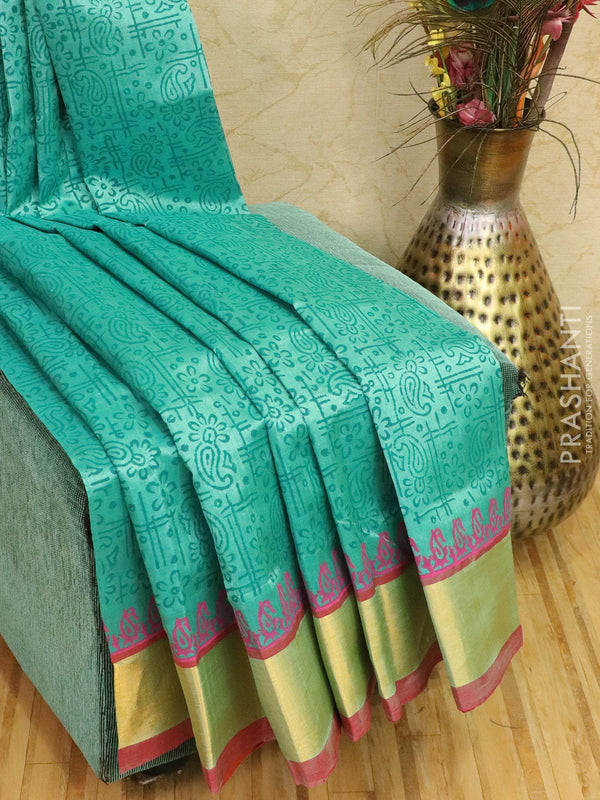 Block printed silk cotton saree teal and pink with butta prints and zari border