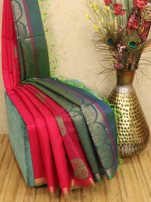 Kora silk cotton saree pink and peacock green with thread and zari woven buttas wit zari border
