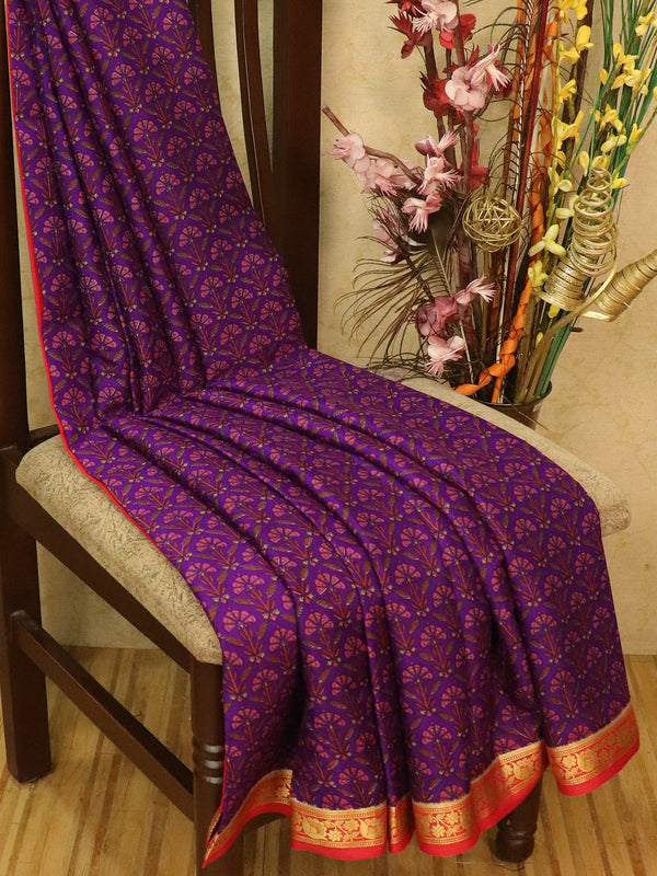 Pure Mysore Crepe silk saree violet and red with allover prints and zari woven border