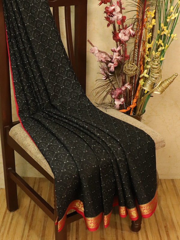 Pure Mysore Crepe silk saree black and red with allover prints and zari woven border