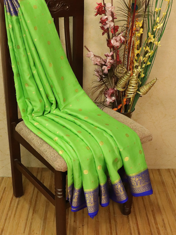 Pure Mysore Crepe silk saree green and royal blue with zari buttas and zari woven border