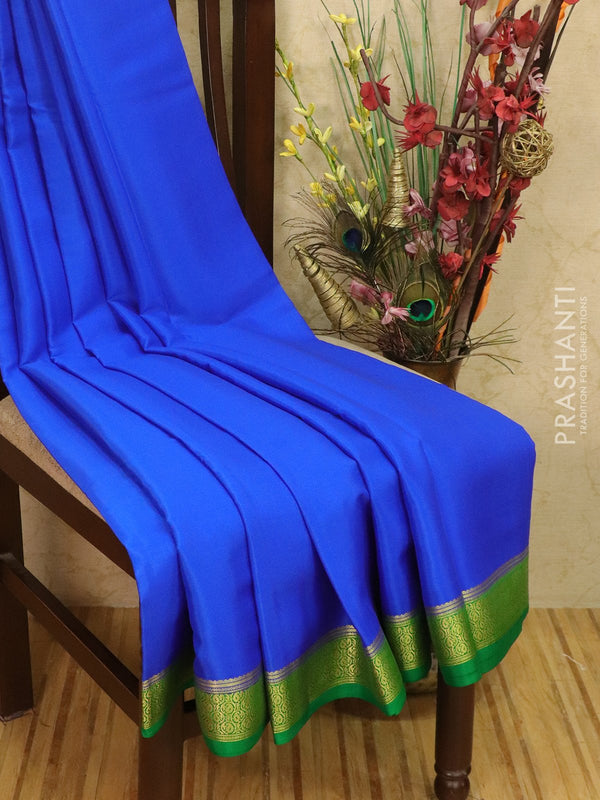 Pure Mysore Crepe silk saree royal blue and green with zari woven border