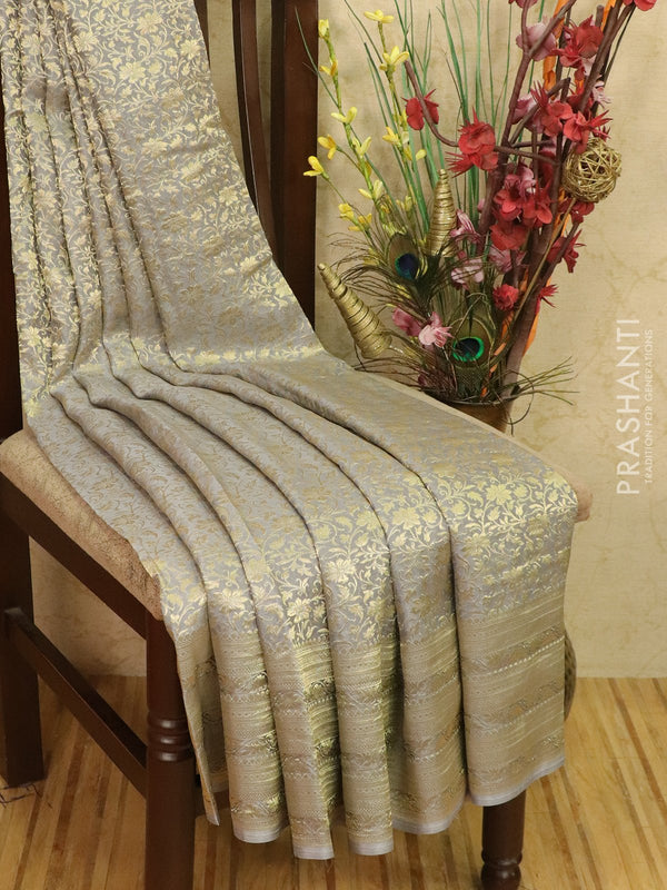 Pure Mysore Crepe silk saree grey with allover floral zari weaves and zari border