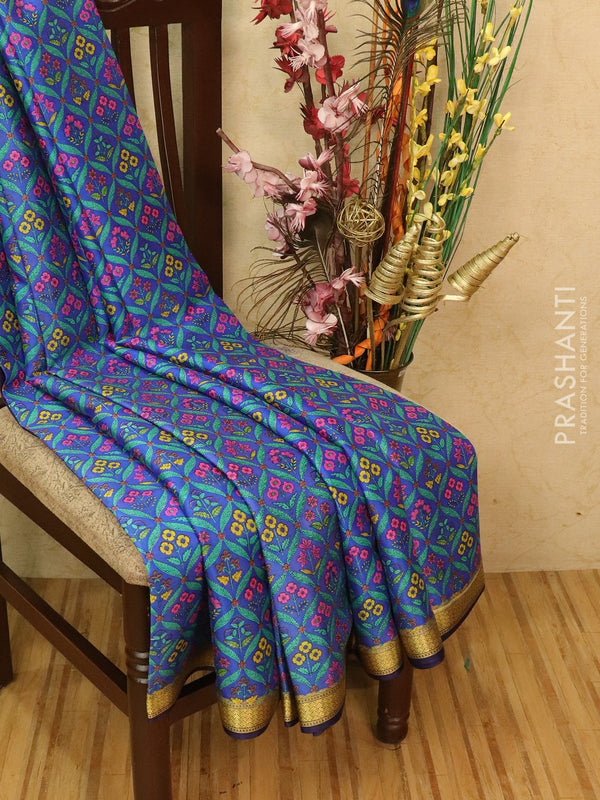 Pure Mysore Crepe silk saree lavender and blue with allover prints and zari woven border