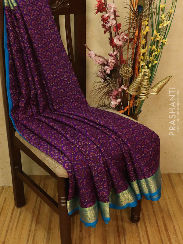 Pure Mysore Crepe silk saree violet and blue with allover prints and zari woven border