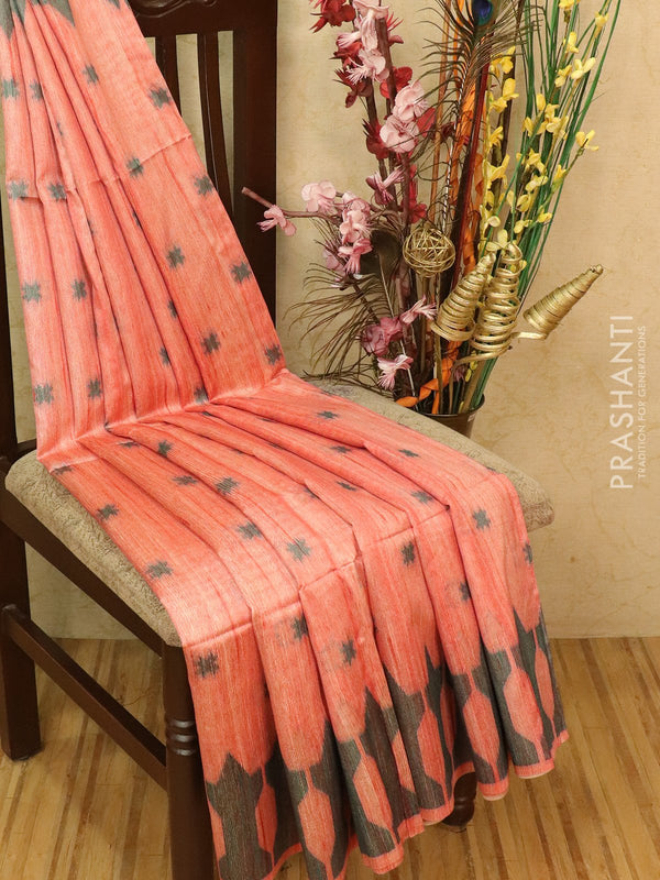 Semi jute silk saree peachish red and green with thread woven buttas in zariless border style