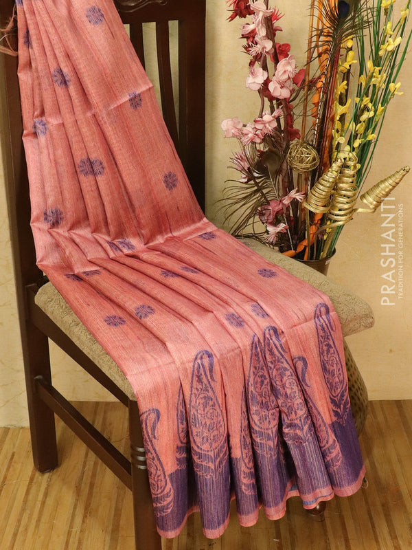 Semi jute silk saree pink and blue with thread woven buttas and woven border