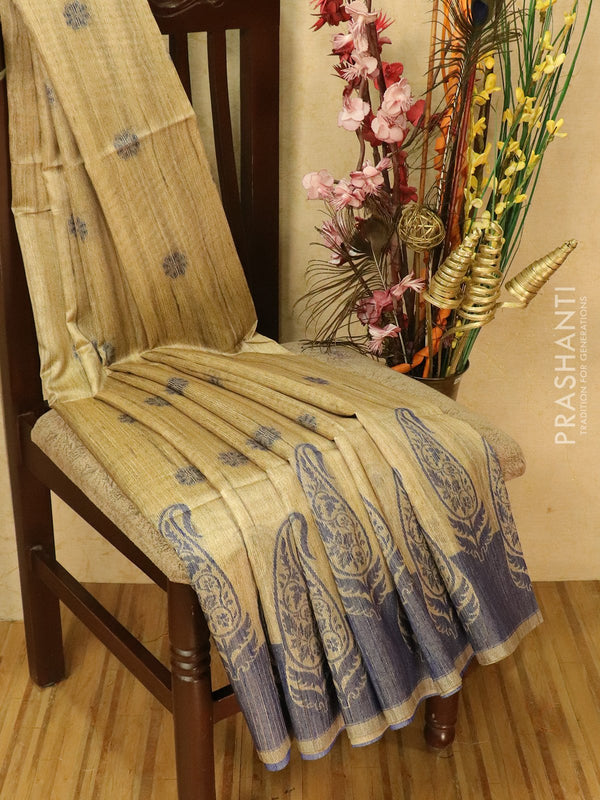 Semi jute silk saree beige and blue with thread woven buttas and woven border