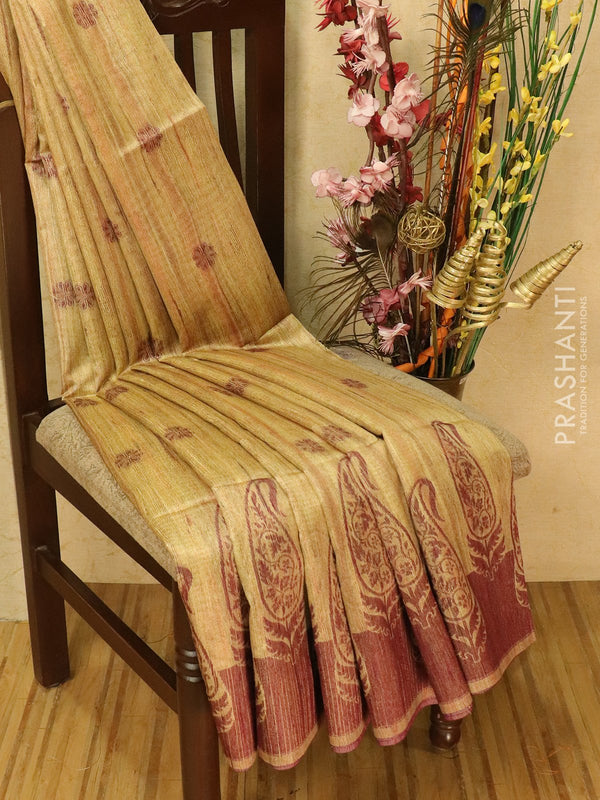 Semi jute silk saree beige and wine shade with thread woven buttas and woven border