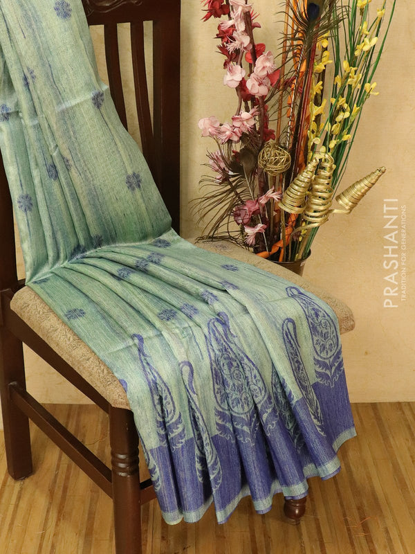 Semi jute silk saree pastal shade and blue with thread woven buttas and woven border