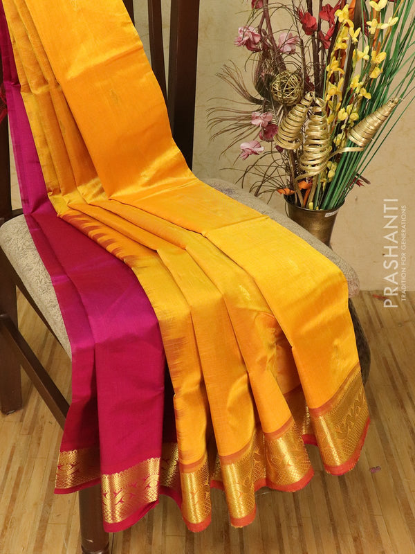 Silk cotton partly saree mango yellow and magenta pink with zari woven buttas and border