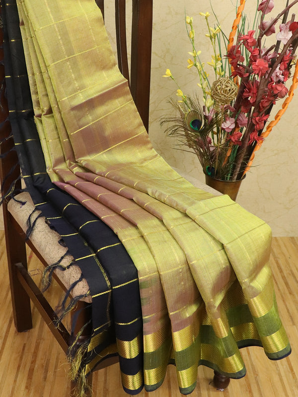 Silk cotton partly saree elaichi green and navy blue with zari checks and rettapet border