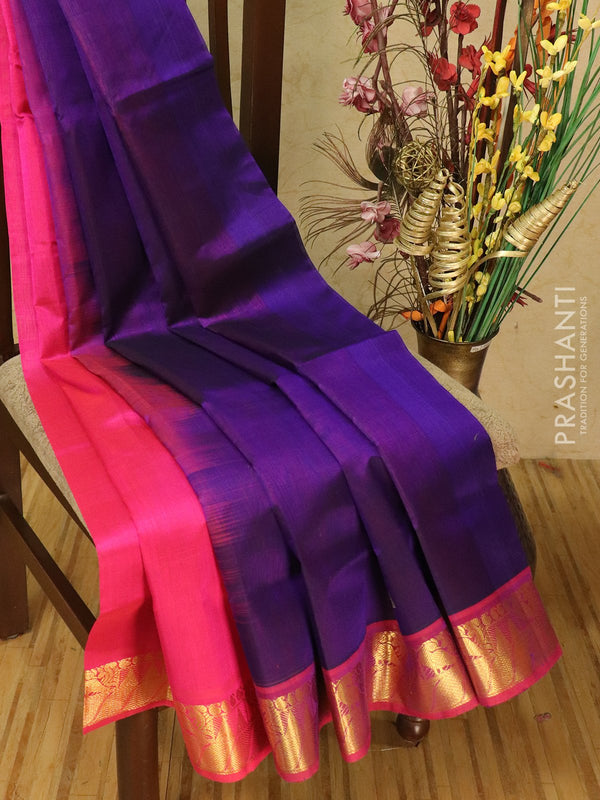 Silk cotton partly saree violet and pink with zari woven buttas and zari woven border