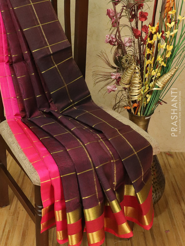 Silk cotton partly saree coffee brown and pink with zari checks and rettapet border