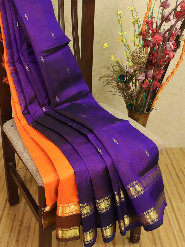 Silk cotton partly saree violet and orange with zari woven buttas and zari woven border