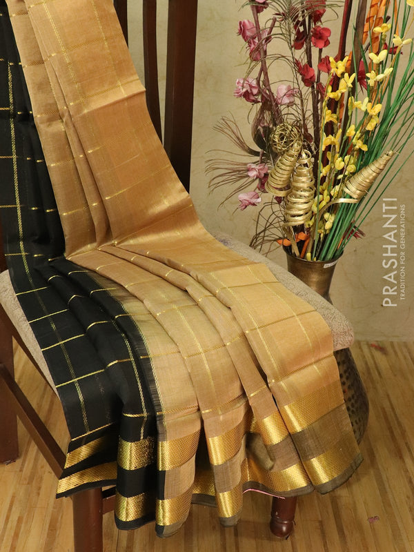 Silk cotton partly saree beige and black with zari checks and rettapet border