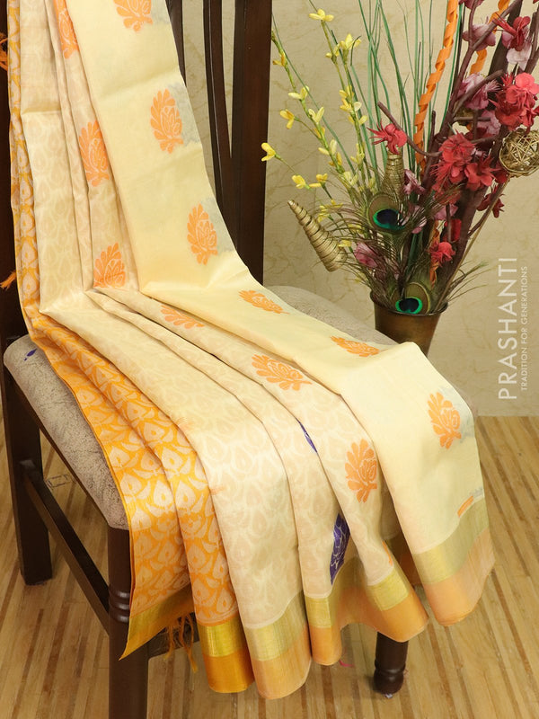 Silk cotton saree off white and mustard with thread woven buttas and simple zari border