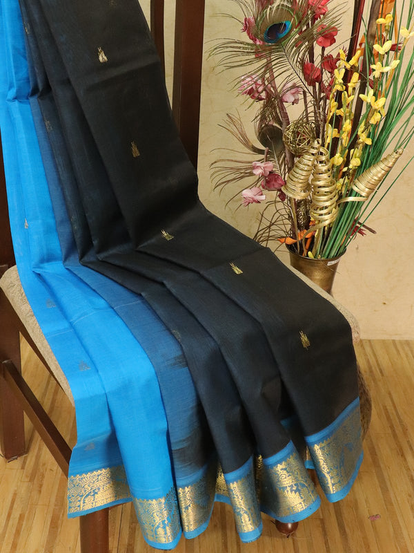 Silk cotton partly saree black and cs blue with zari woven buttas and zari woven border for Rs.Rs. 3590.00 | by Prashanti Sarees