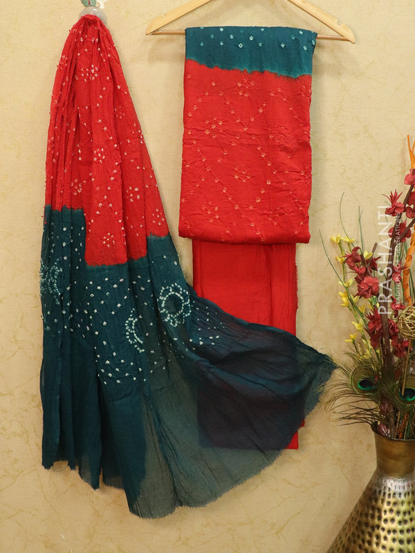 Cotton dress material red and peacock blue with bandhani printed bottom and dupatta