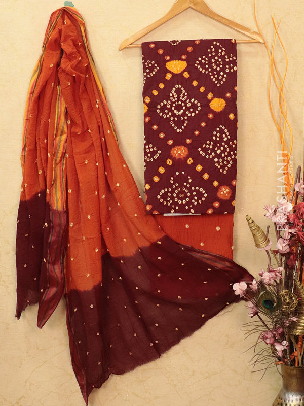 Cotton dress material maroon and rust with bandhani printed bottom and dupatta