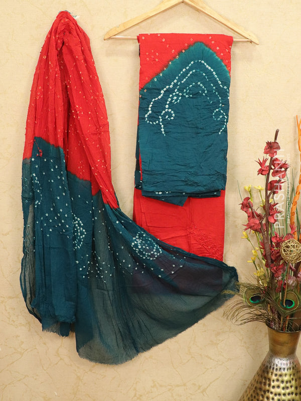 Cotton dress material red and peacock green with bandhani printed bottom and dupatta