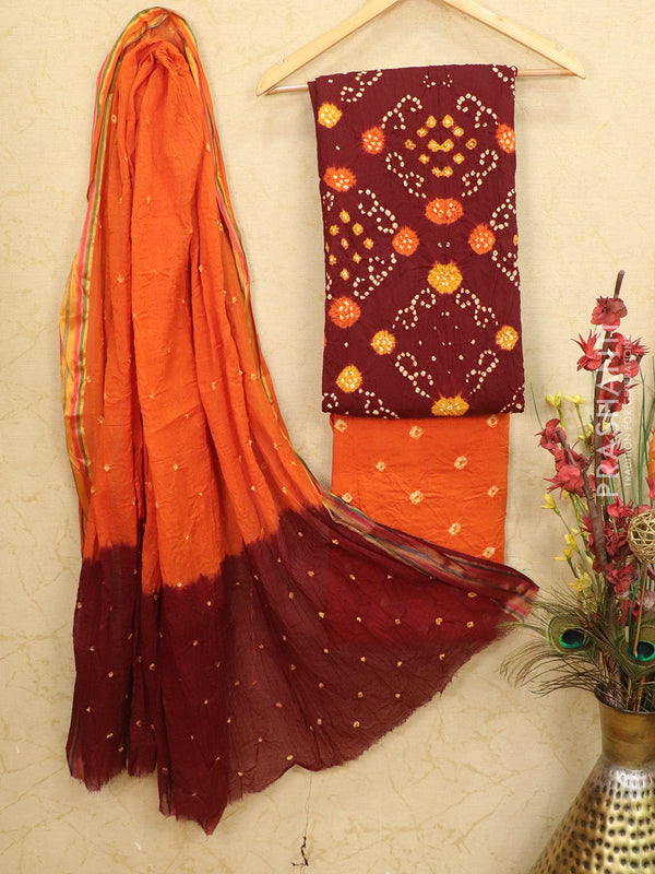 Cotton dress material maroon and orange with bandhani printed bottom and dupatta
