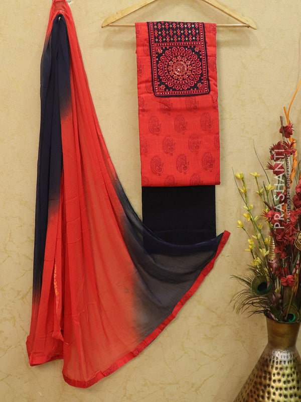 Cotton dress material red and navy blue with printed top and chiffon dupatta