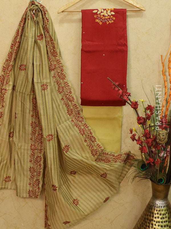 Cotton dress material maroon and beige with embroided neck and dupatta for Rs.Rs. 1350.00 | Dress Materials by Prashanti Sarees