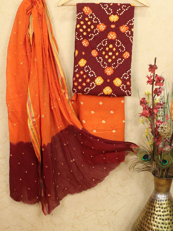 Cotton dress material maroon and orange with bandhani bottom and dupatta