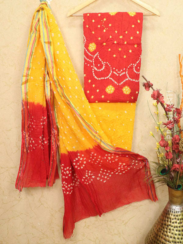 Cotton dress material red and yellow with bandhani bottom and dupatta