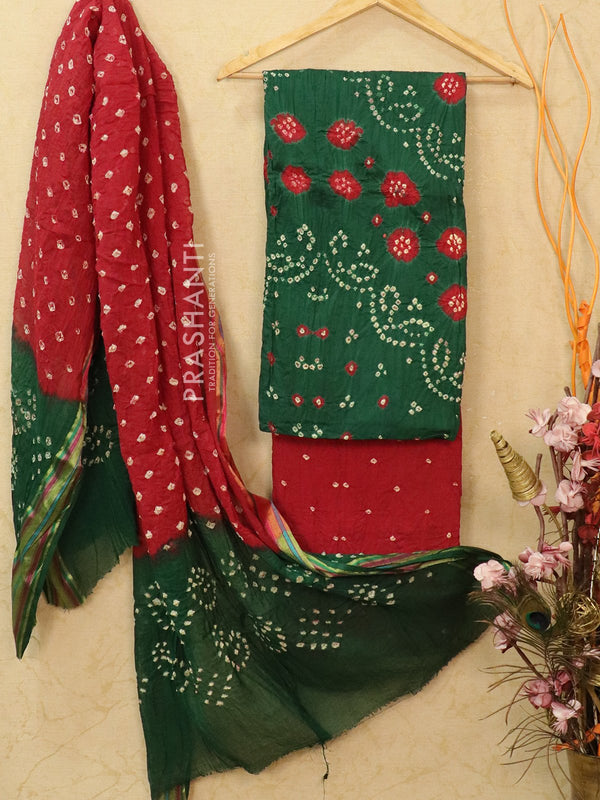 Cotton dress material green and maroon with bandhani bottom and dupatta