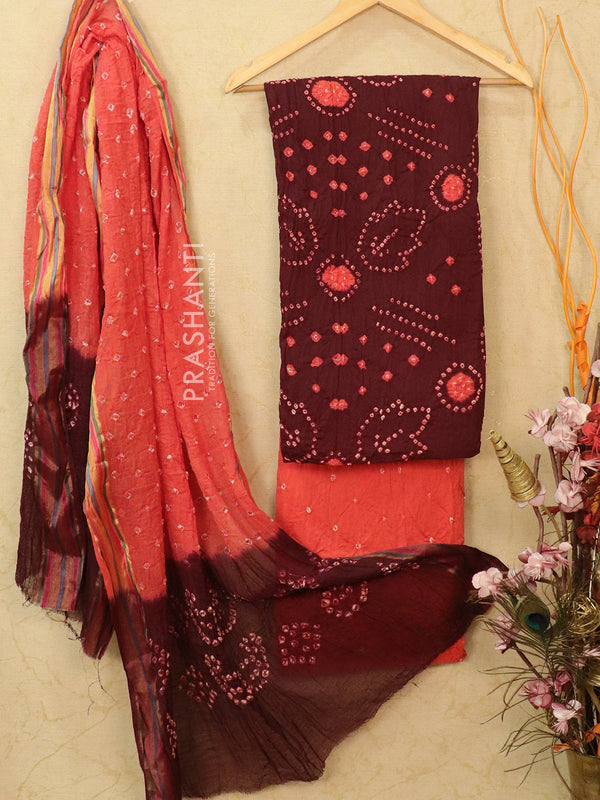 Cotton dress material coffee brown and pink with bandhani bottom and dupatta