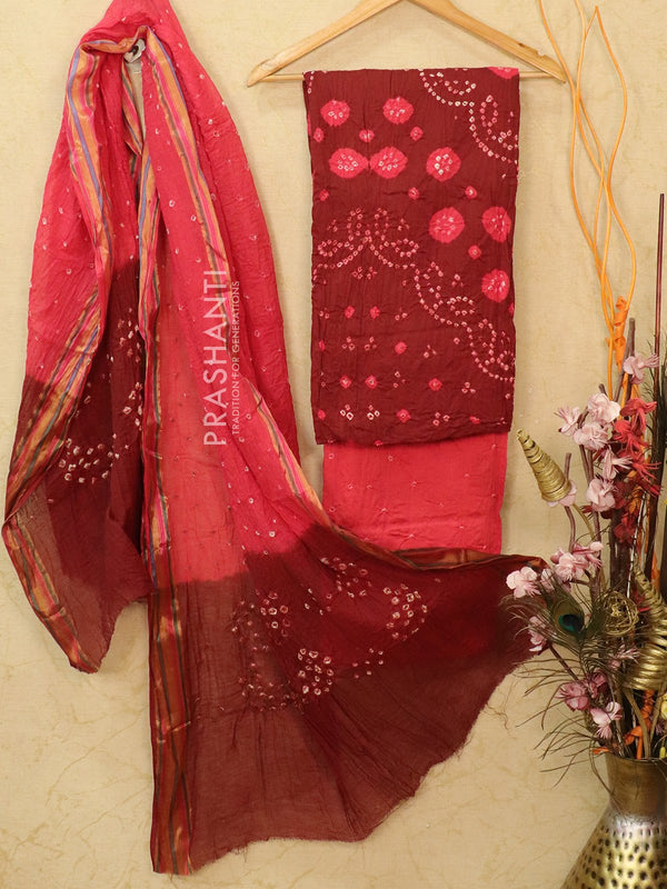 Cotton dress material maroon and pink with bandhani bottom and dupatta
