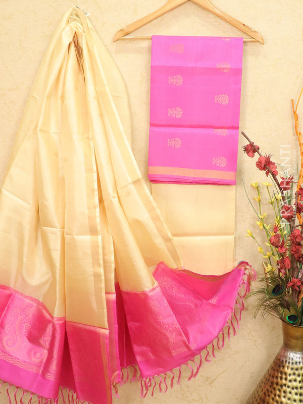 pure silk dress material pink and cream with zari woven buttas