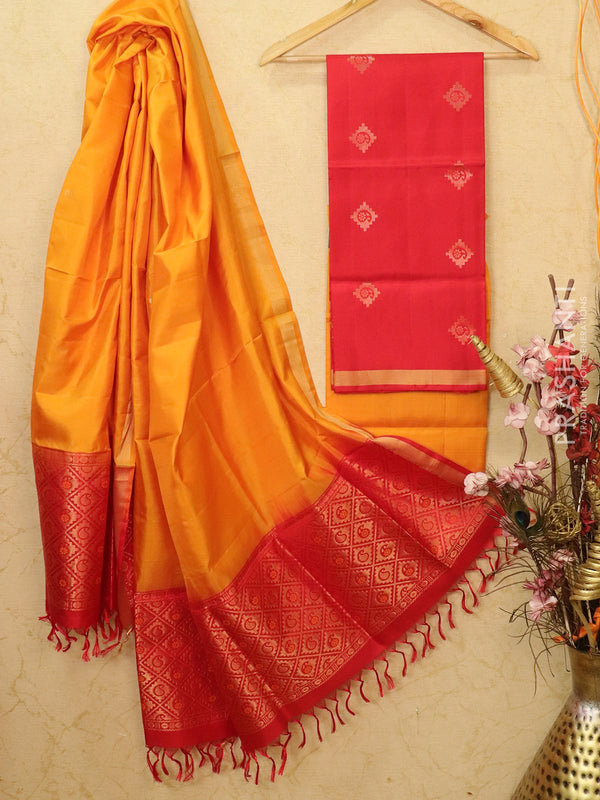 pure silk dress material red and mustard with zari woven buttas