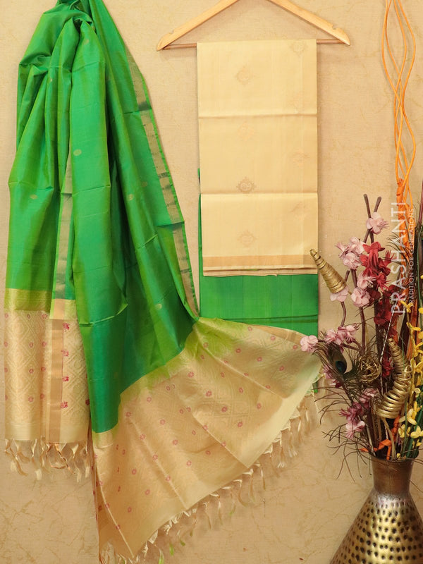 pure silk dress material cream and green with zari woven buttas