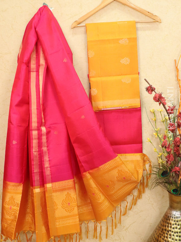 pure silk dress material mustard and pink with zari woven buttas