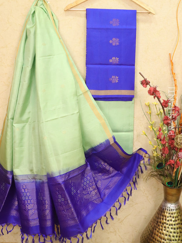 pure silk dress material blue and pista green with zari woven buttas