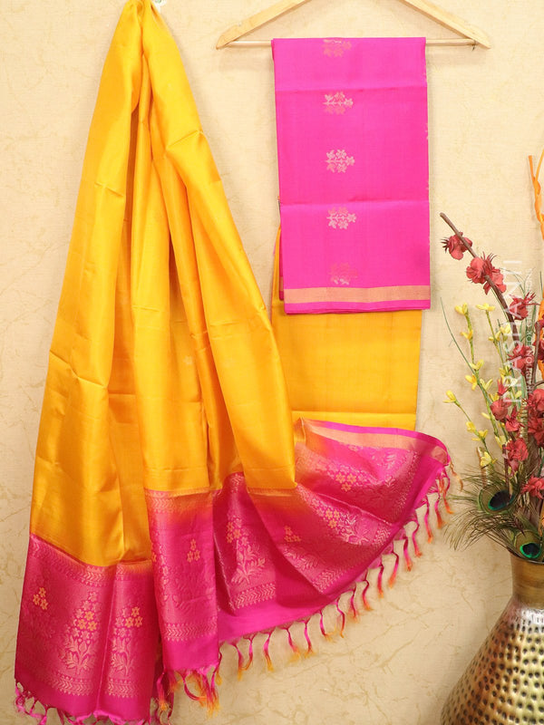pure silk dress material pink and yellow with zari woven buttas