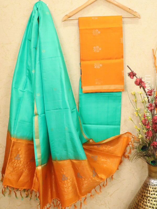 pure silk dress material orange and green with zari woven buttas