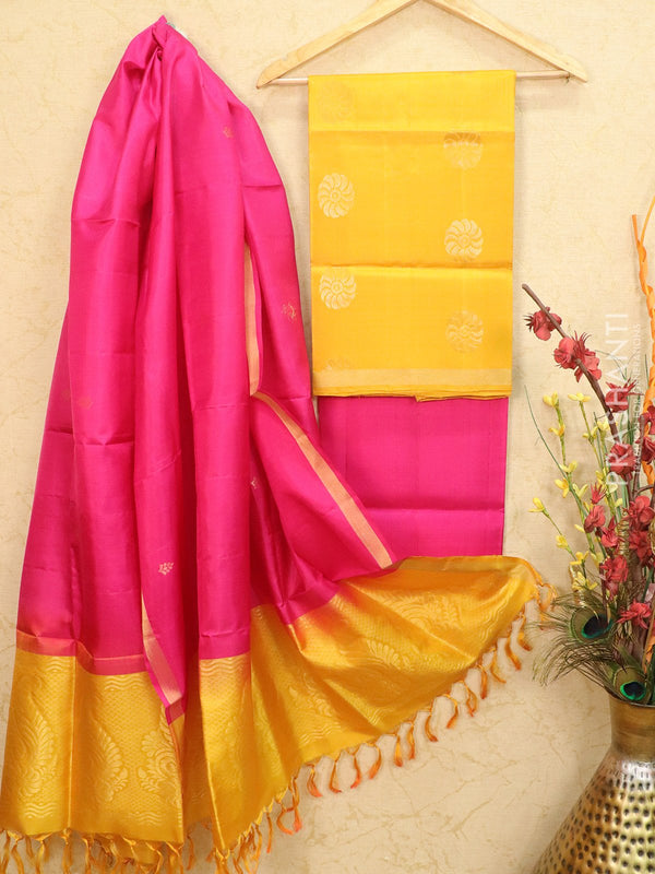 pure silk dress material yellow and pink with zari woven buttas
