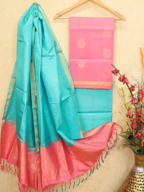 pure silk dress material pink and teal with zari woven buttas