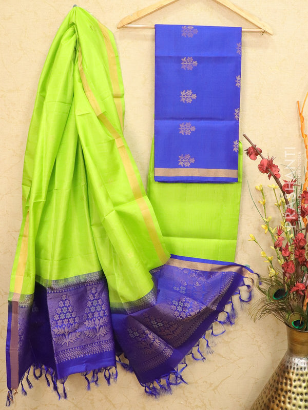 pure silk dress material blue and green with zari woven buttas