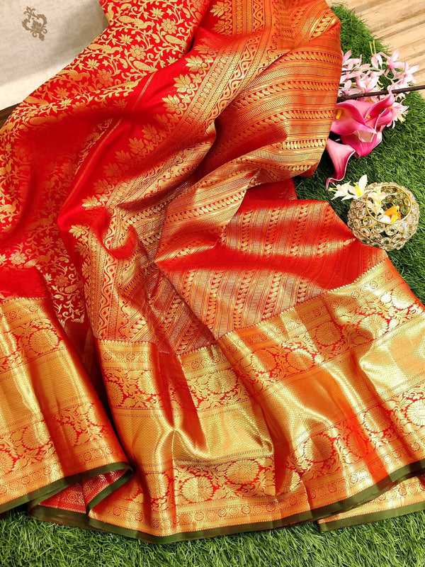 Pure kanchivaram silk saree red with allover golden zari weaves and rich zari border