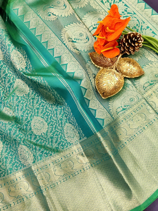 Pure kanchivaram silk saree teal blue and pink with allover silver zari weaves and rich zari woven border