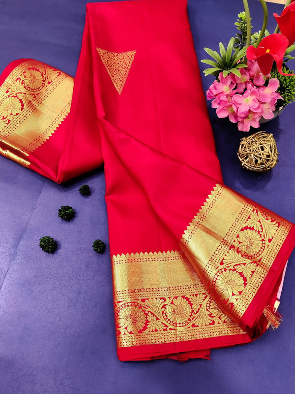 Pure kanchivaram silk saree red with golden zari butta and rich zari woven border