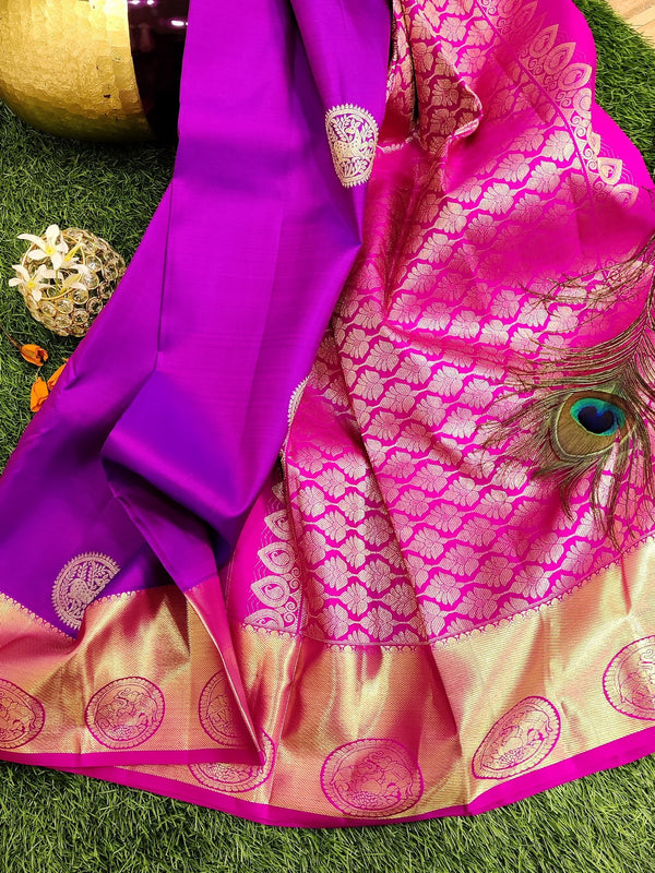 Pure kanchivaram silk saree purple and pink with golden zari woven buttas and zari woven border